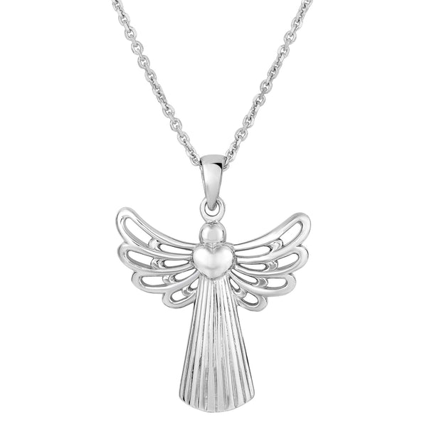 Sterling Silver Angel Sliding Heart Pendant Necklace, 18""