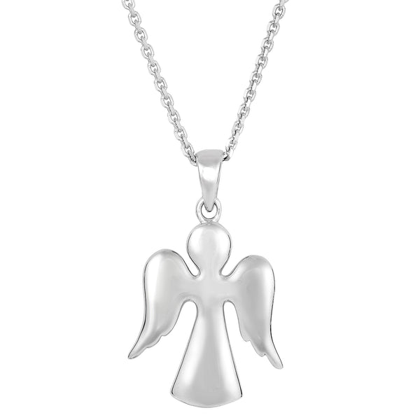 Sterling Silver Angel Pendant Sliding Fashion Necklace, 18""