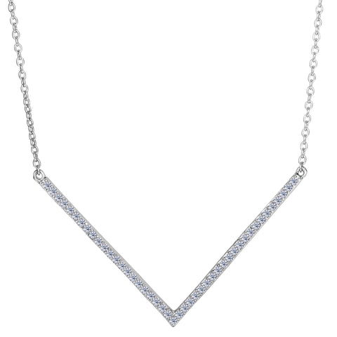 Sterling Silver V Shaped Pendant CZ Necklace, 18""