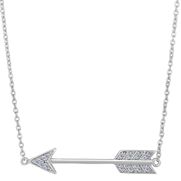 Sterling Silver With CZ Sideways Arrow Necklace, 18""
