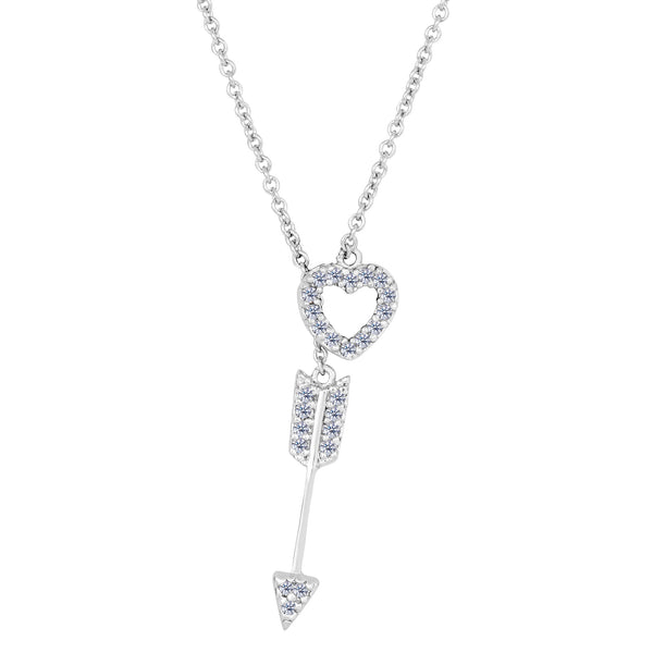 Sterling Silver Heart And Arrow CZ Charms Adjustable Necklace, 18""