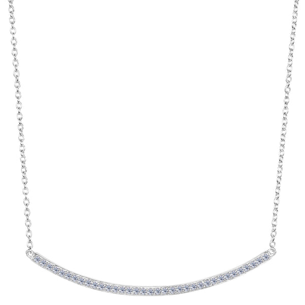 Sterling Silver Square Tube Curve Bar CZ Pendant Necklace, 18""