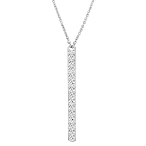 Sterling Silver Diamond Cut Drop Bar Pendant Necklace, 18""