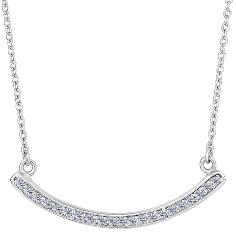 Sterling Silver Curve Bar Pendant CZ Necklace, 18""