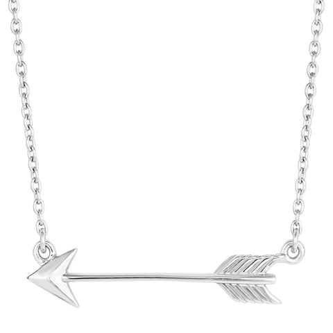 Sterling Silver Sideways Arrow Necklace, 18""