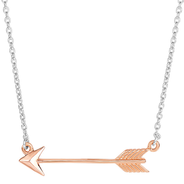 Sterling Silver Sideways Rose Tone Finish Arrow Pendant Chain Necklace, 18""