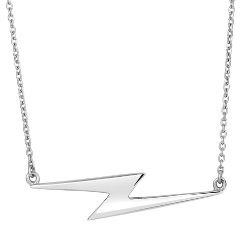 Sterling Silver Thunderbolt Lightning Sideways Pendant Necklace, 18""