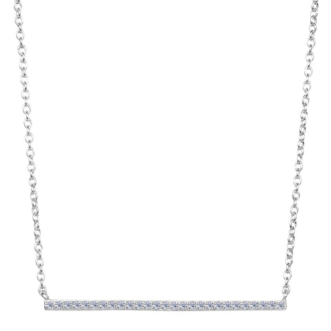Sterling Silver Sideways Bar Pendant CZ Necklace, 18""