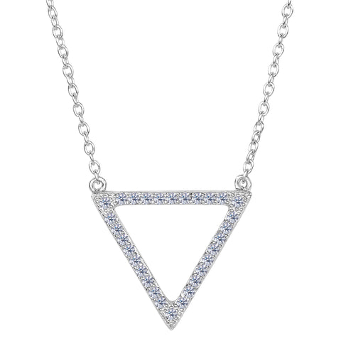 Sterling Silver Triangle Shaped Pendant CZ Necklace, 18""
