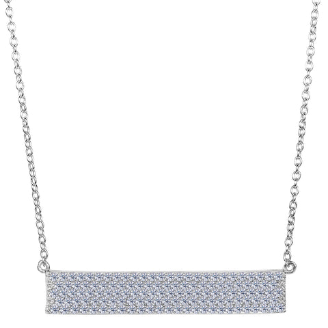 Sterling Silver Wide Rectangle Bar Pendant CZ Necklace, 18""