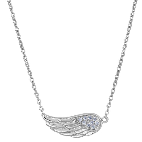 Sterling Silver Sideways Angel Wing Pendant CZ Fashion Necklace, 18""