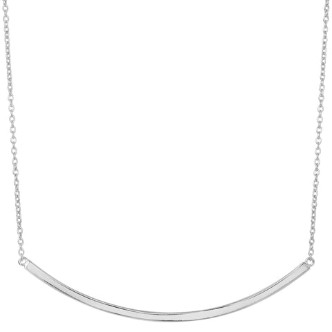 Sterling Silver Sideways Curve Bar Pendant Necklace, 18""