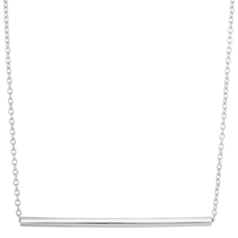 Sterling Silver Sideways Cylinder Bar Pendant Necklace, 18""