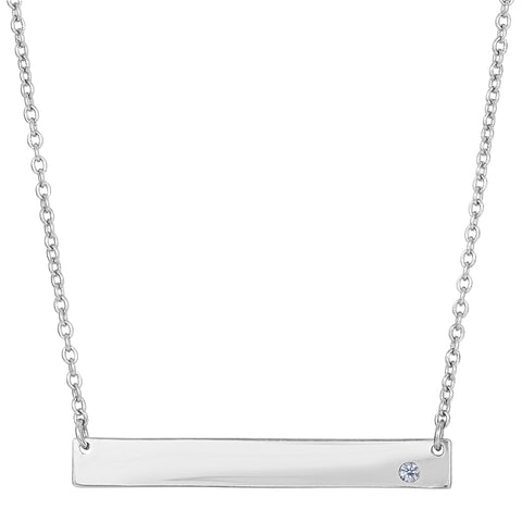 Sterling Silver Sideways Engravable Bar Pendant CZ Necklace, 18""