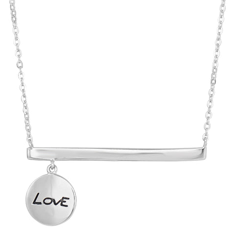 Sterling Silver Sideways Bar Dangling Love Charm Necklace, 18""