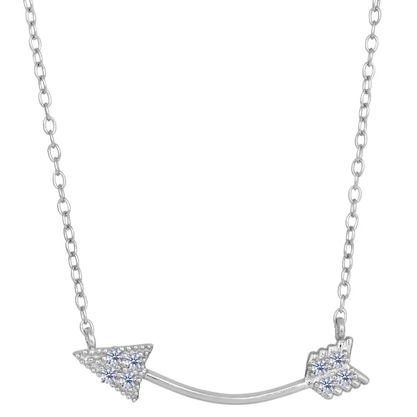 Sterling Silver With CZ Sideways Curved Arrow Necklace, 18""