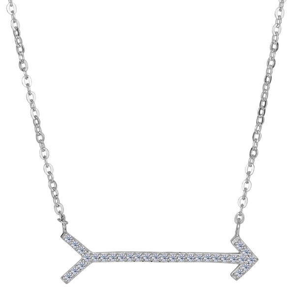 Sterling Silver With CZ Straight Sideways Arrow Necklace, 18""