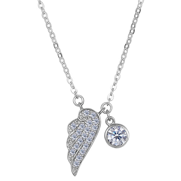 Sterling Silver CZ Angel Wing Charm Pendant Necklace, 18""