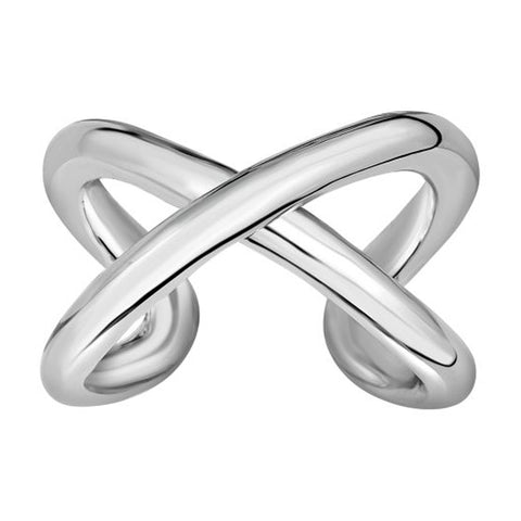 Sterling Silver Cross Over X Design Ring, Size 7