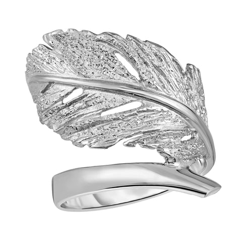 Sterling Silver Leaf Design Ring, Size 7