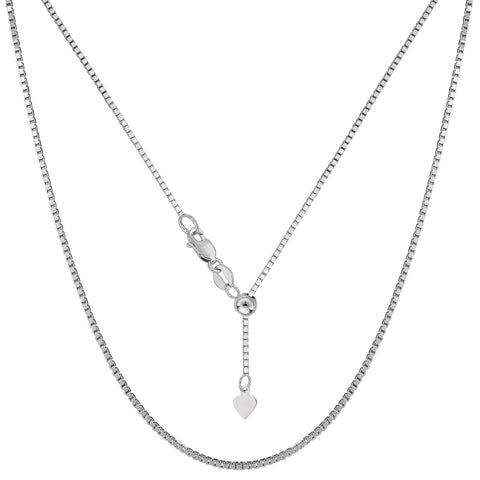 "Sterling Silver Rhodium Plated Adjustable Box Chain Necklace, 1,2mm, 22"" - JewelryAffairs  - 1"