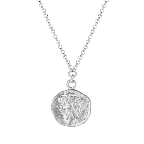Sterling Silver Roman Coin Charms Necklace, 18""