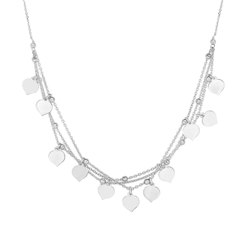 Sterling Silver Multi Strand Heart Charm Necklace, 18""