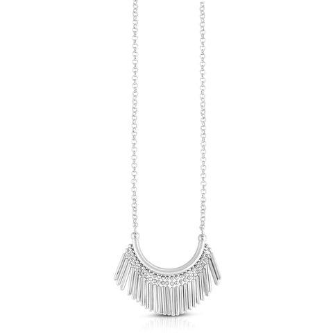 Sterling Silver Tassel Charms Fancy Necklace, 17""