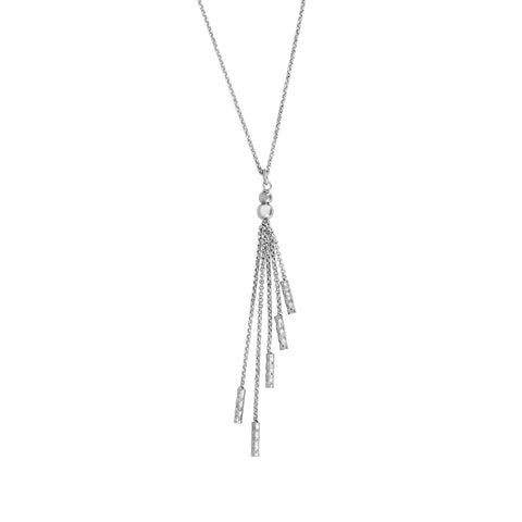 Sterling Silver Tassel Charms Fancy Necklace, 18""