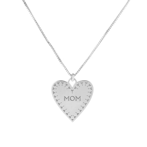 Sterling Silver Heart Mom Pendant Necklace, 18""