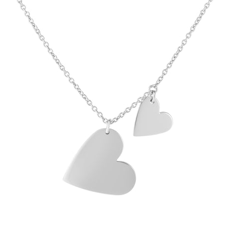 Sterling Silver Heart Charms Necklace, 18""