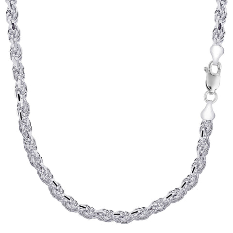 Sterling Silver Rhodium Plated Diamond Cut Rope Chain Necklace, 5.7mm