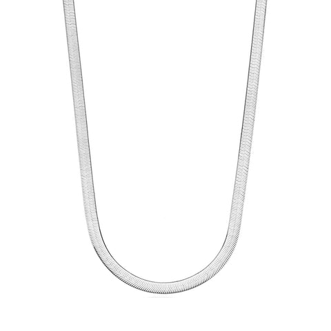 Sterling Silver Imperial Herringbone Chain Necklace, 3.3mm