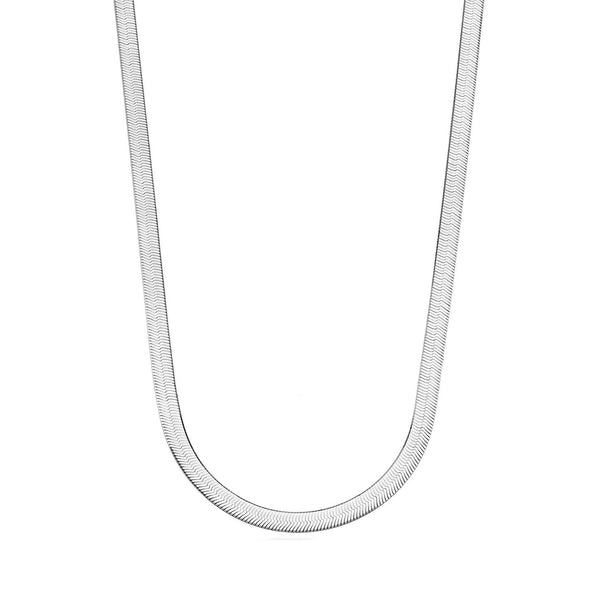 Sterling Silver Imperial Herringbone Chain Necklace, 4.2mm