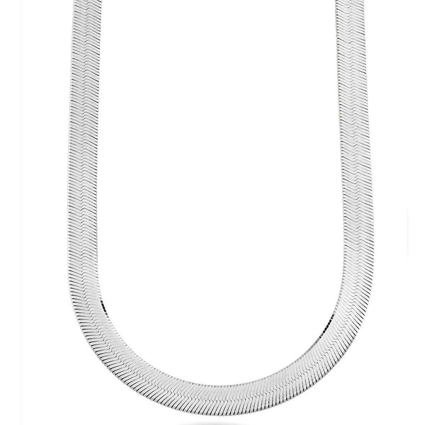 Sterling Silver Imperial Herringbone Chain Necklace, 9.5mm