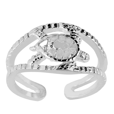Sterling Silver Sea Turtle Cuff Style Adjustable Toe Ring - JewelryAffairs  - 1