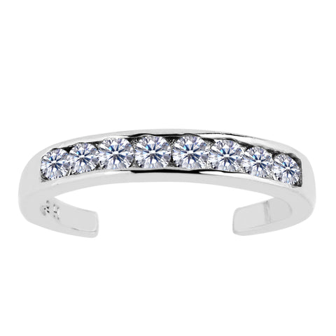 Sterling Silver Channel Set CZ Cuff Style Adjustable Toe Ring