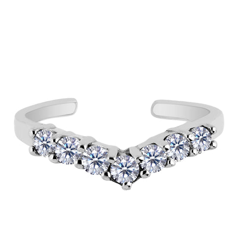 Sterling Silver V Shape Prong Set CZ Cuff Style Adjustable Toe Ring