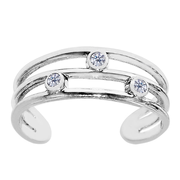 Sterling Silver Open Triple Row With CZ Cuff Style Adjustable Toe Ring