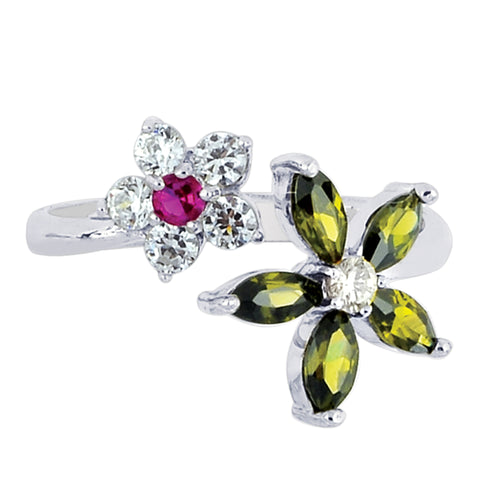 Sterling Silver Colored Flower CZ By Pass Style Adjustable Toe Ring