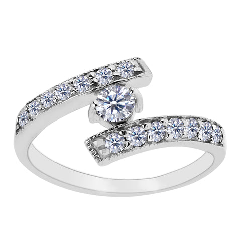 Sterling Silver By Pass Ends With CZ Adjustable Toe Ring - JewelryAffairs  - 1