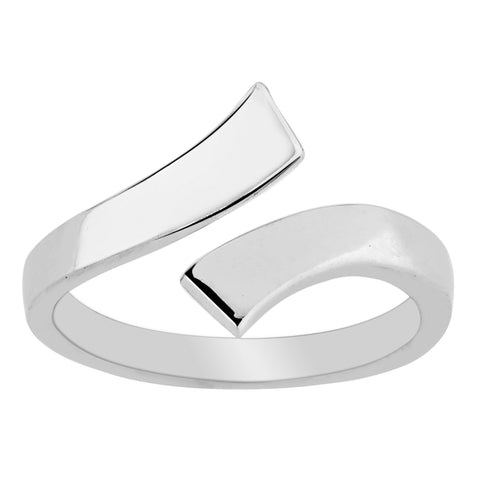 Sterling Silver Split Ends By Pass Style Adjustable Toe Ring - JewelryAffairs  - 1