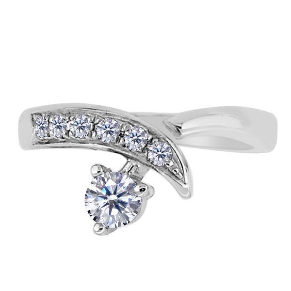 Sterling Silver By Pass Ends With CZ Adjustable Toe Ring