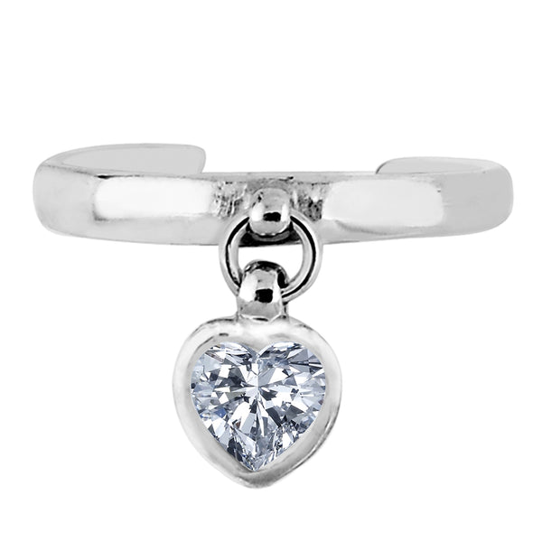 Sterling Silver Dangling Heart Shape CZ Cuff Style Adjustable Toe Ring