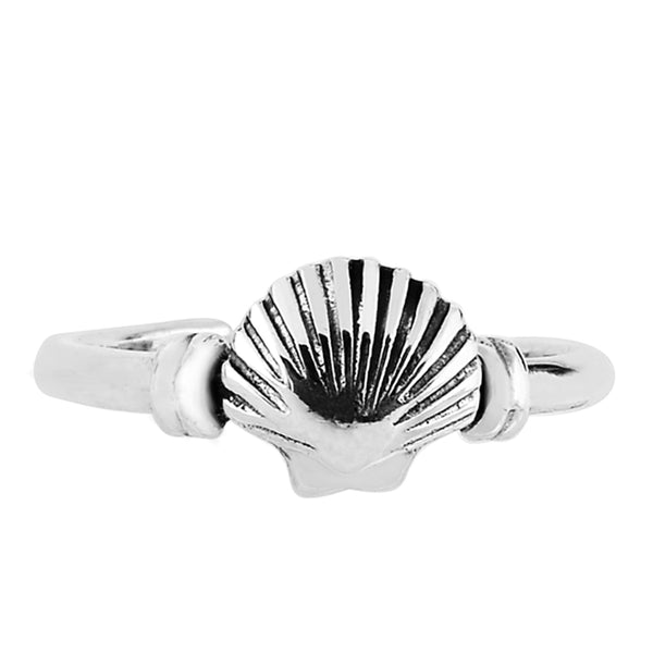 Sterling Silver Sea Shell Cuff Style Adjustable Toe Ring - JewelryAffairs  - 1