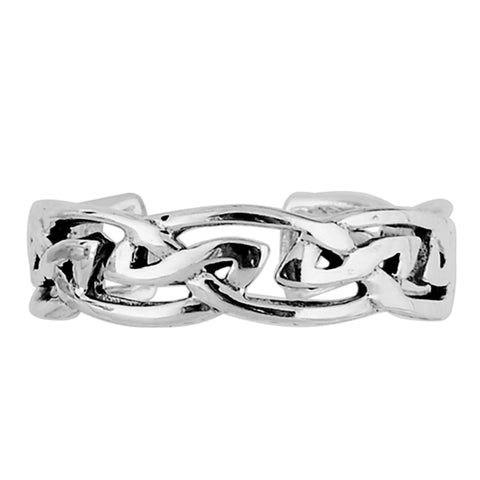 Sterling Silver Trinity Knot Cuff Style Adjustable Toe Ring - JewelryAffairs  - 1