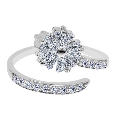 Sterling Silver Flower CZ By Pass Style Adjustable Toe Ring