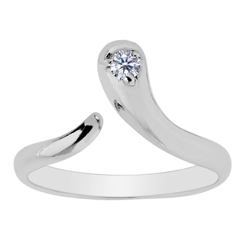 Sterling Silver Snake Shape CZ By Pass Style Adjustable Toe Ring