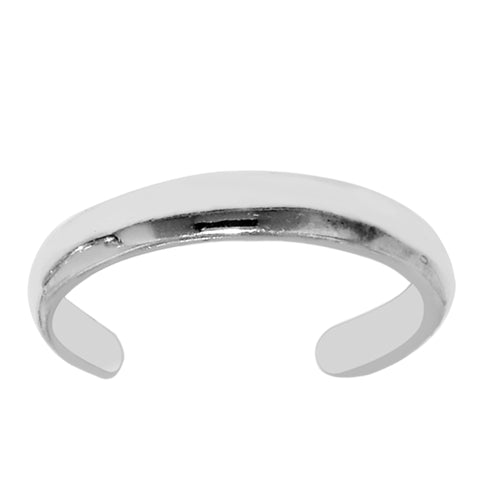 Sterling Silver High Polish Cuff Style Adjustable Toe Ring - JewelryAffairs  - 1