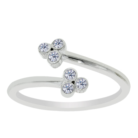 Sterling Silver Clover Style CZ By Pass Style Adjustable Toe Ring - JewelryAffairs  - 1